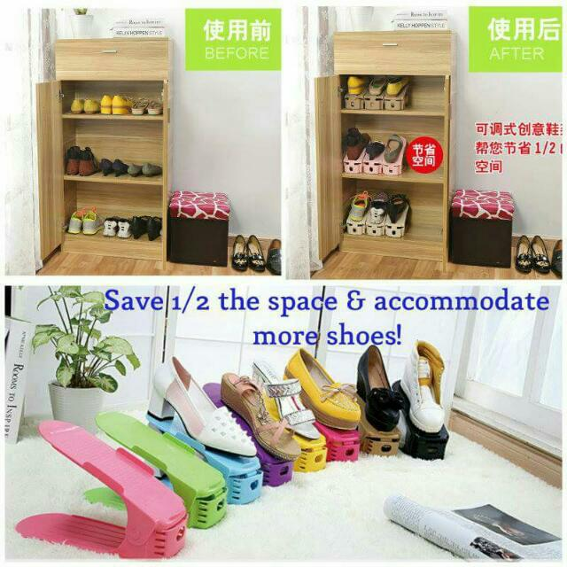 89505b1dac4e2 4pcs Upgraded Adjustable Shoe Rack Organiser