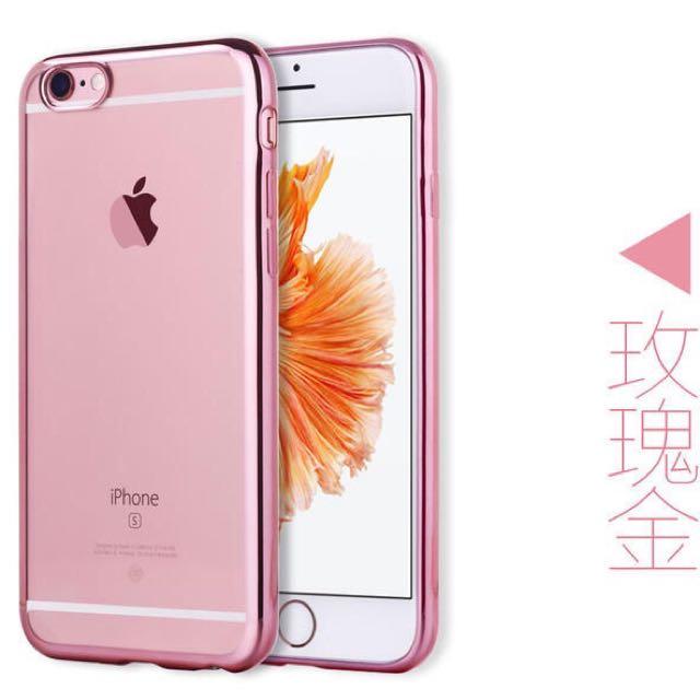 蘋果6s手機殼4.7寸玫瑰金iphone6橡膠套防摔軟殼奢華女用電鍍玫瑰邊框 軟殼耐磨耐摔鏡頭防護設計 玫瑰金粉紅