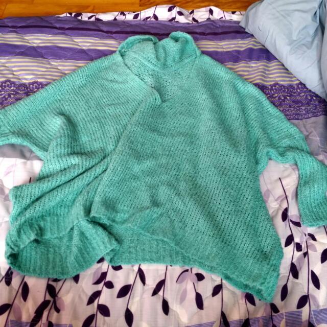 蘋果綠針織飛鼠連帽上衣