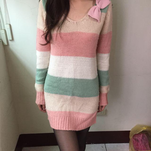 長版貼身條紋毛衣