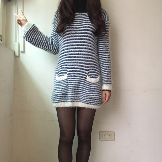 長版條紋毛衣