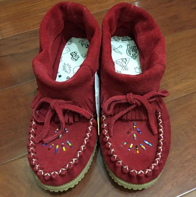 全新 紅色流蘇短靴