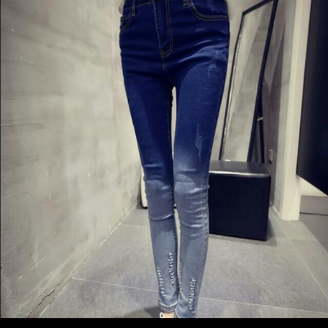 韓版 修身緊身 牛仔褲