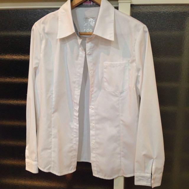 全新女用黑格子白襯衫 XXL 有口袋