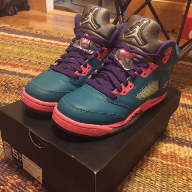 Aj5 Air Jordan 5代 藍紫粉 湖水藍 熱帶雨林 毛怪配色 5.5y