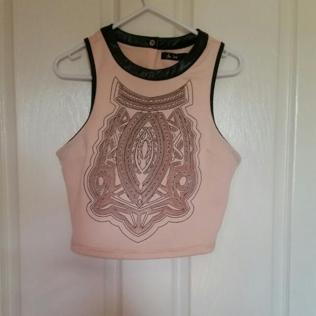 Baby Pink Crop With Leather Detail