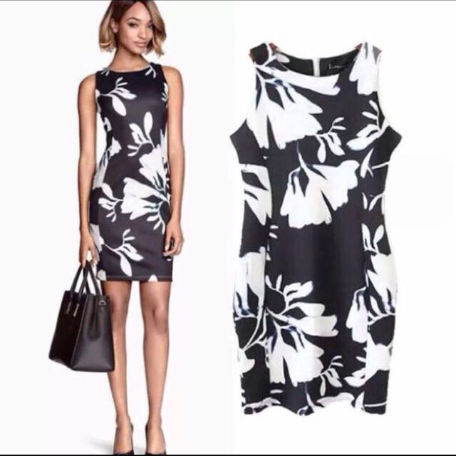 Black And White Flora Dress