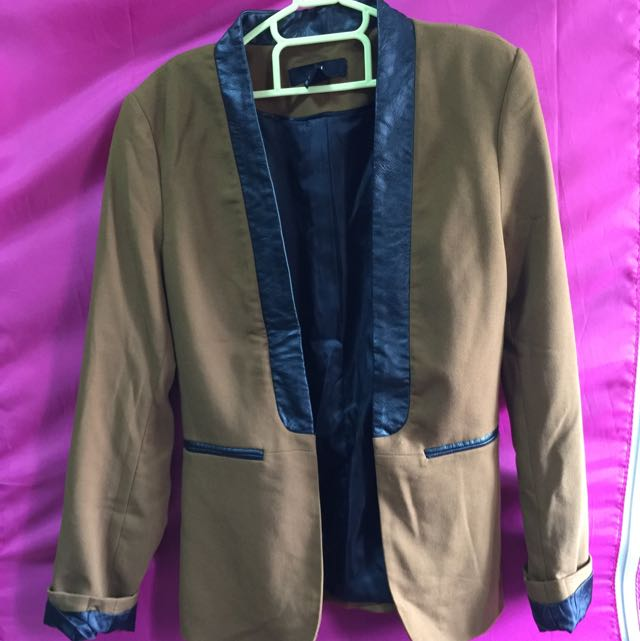 Blazer (brown w/ Faux Leather) H&M