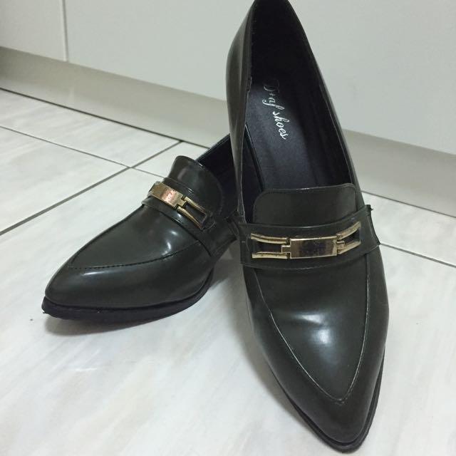D+af尖頭金屬裝飾低跟鞋 粗跟