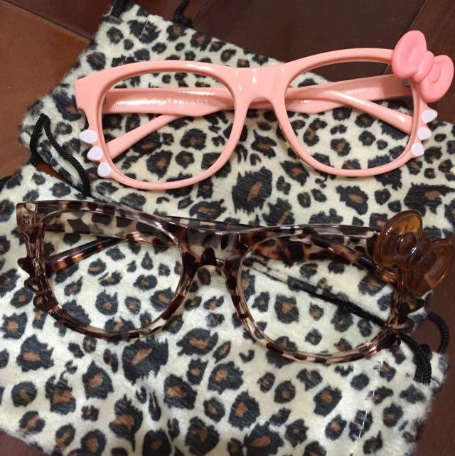 Hellokitty造型眼鏡(附眼鏡袋)
