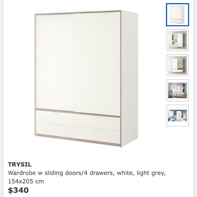 ikea trysil wardrobe with sliding doors 4 drawers white light grey furniture on carousell. Black Bedroom Furniture Sets. Home Design Ideas