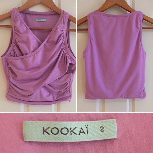 05089f1f28 Kookai Lilac draped crop top
