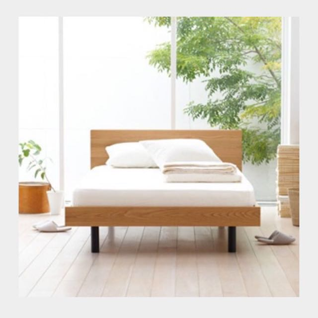 muji queen size bed frame with headboard home furniture on carousell - Muji Bed Frame