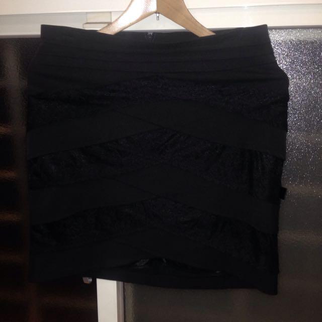 黑色蕾絲OL套裝裙/窄裙/鉛筆裙