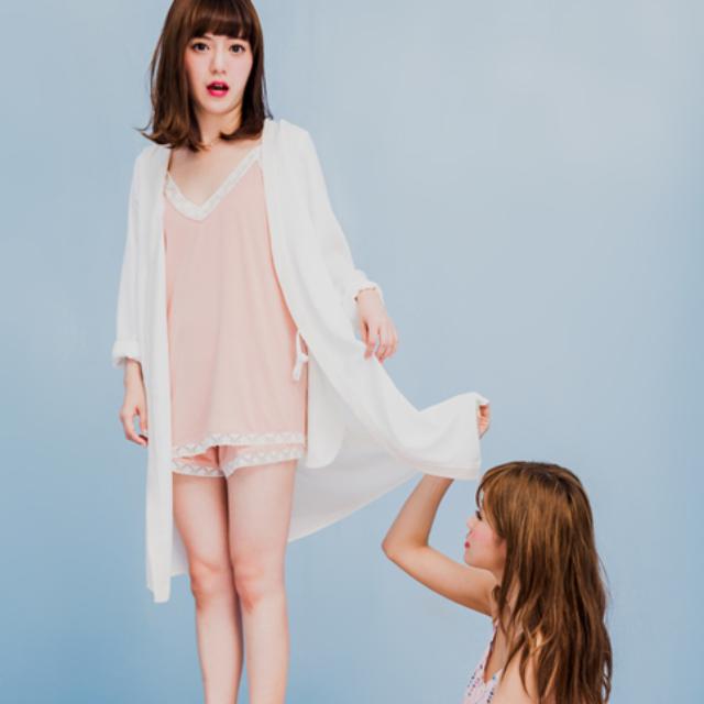 STARMIMI綁帶邊配色浴袍式罩衫