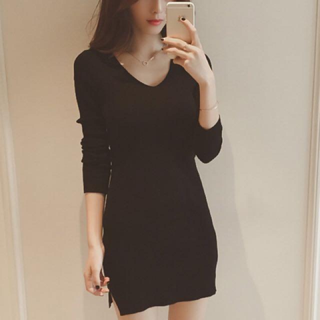 性感V領修身顯瘦針織連衣裙 黑