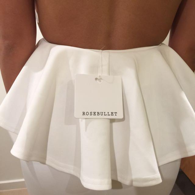 White Halter Peplum Dress | Size 8 | BRAND NEW