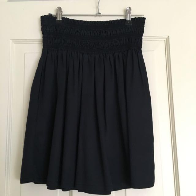 Zara XS Navy Midi Skirt