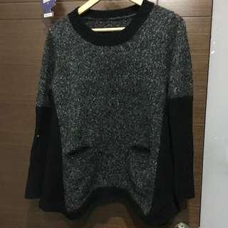 灰白黑混色毛衣
