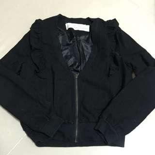 八成新⋯日本帶回荷葉領短版百搭外套