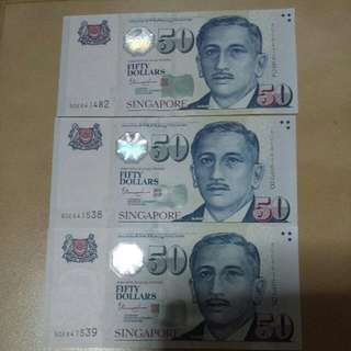 **Brand new $50 notes**  #Selling 3 pieces under special logo MAS  ~Cash On & Meet Up @ 7 Eleven Eunos MRT Or Paya Lebar MRT~