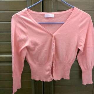 橘粉色針織小外套