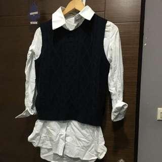 深藍針織背心白襯衫一套賣