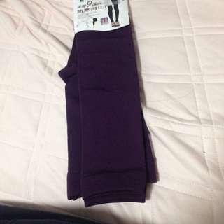 紫色保暖九分褲襪