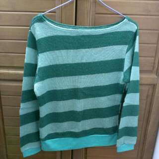 綠條紋毛衣