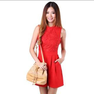 MGP Label - Spring Lace Romper In Red