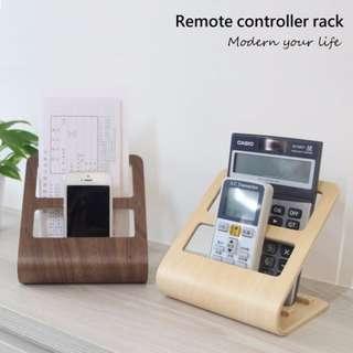 桌上收納 手機遙控器架 一組2入 (天然木/胡桃木)
