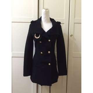 冬季二手出清-黑色超顯瘦長大衣外套