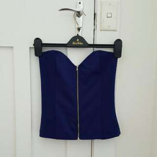 TEMT Strapless Royal Blue Bustier Top