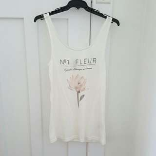 H&M Singlet Top With Cute Floral And French Print