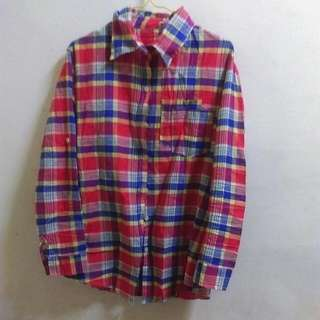 紅黃藍配色格紋長版襯衫