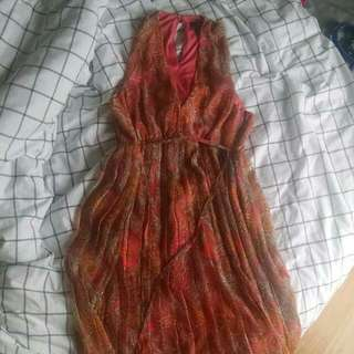 H&M Peachy pink Pleated Dress Size 8