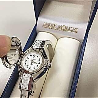 ANDRE MOUCHE 雪蓮錶 氣質蘭花彩繪掀蓋錶