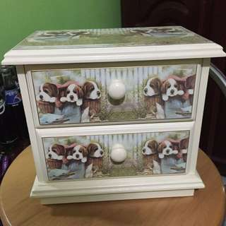 Mini Table Top Drawer With Puppies Design