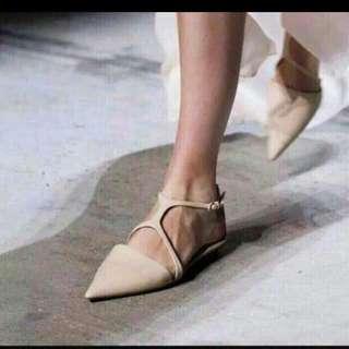 歐美尖頭平底鞋 交叉 踝扣 鬆緊