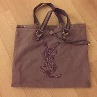 二手正品YSL薫衣草紫大帆布包淡紫色Yves Saint Laurent