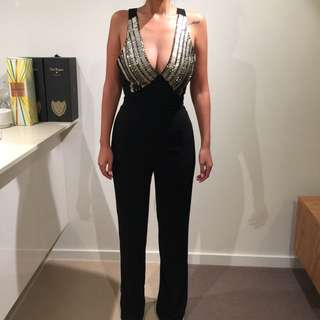 Bardot Jumpsuit With Sequence | Size 6