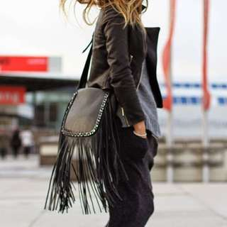 Zara Leather Fringe Bag With Chain Detail