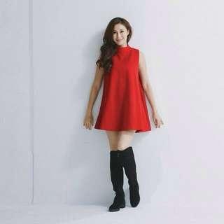 (9成新)氣質厚直感洋裝 紅 Applie