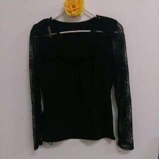 黑色修身性感長袖上衣