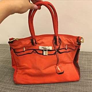 [二手]HLW NY Print Bag 翻玩轉印包紅色