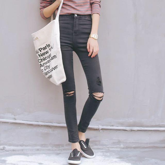 九分彈性高腰牛仔褲(4色)