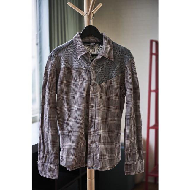 千鳥紋厚版硬挺襯衫