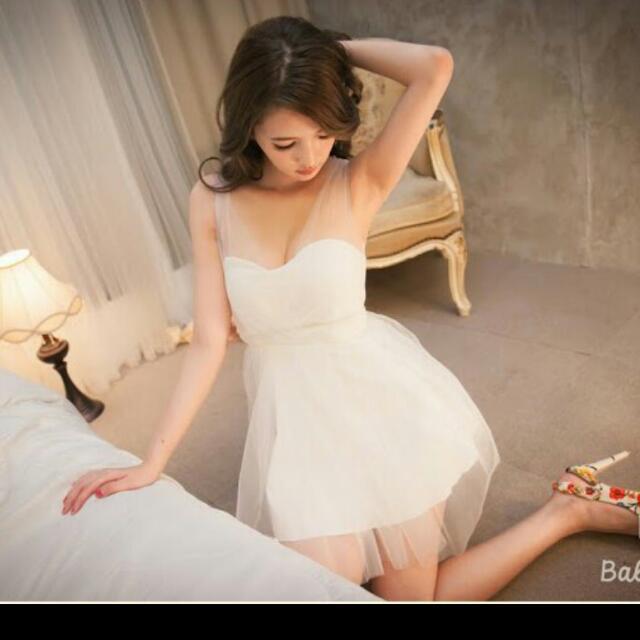 全新網紗白色夜店婚宴洋裝