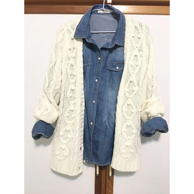 日牌白色毛衣外套