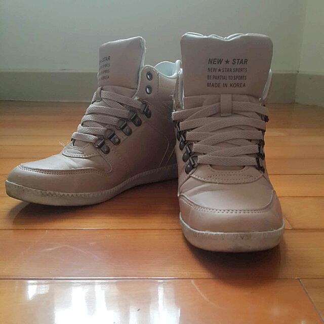 米色韓國內增高鞋